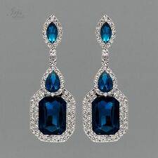 Rhodium Plated Blue Crystal Rhinestone Wedding Drop Dangle Earrings 04753 Prom