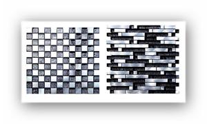 Glas Aluminium Silber Schwarz Metall Mosaik Fliesen Fliesenspiegel Mosaik Bad