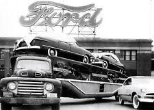 Car Carrier in front Ford Chester PA Plant 1950  8 x 10 photograph