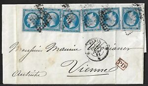 FRANCE TO AUSTRIA NAPOLEON 20cts PERCE EN LIGNE COVER 1861 HCV