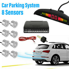 Silver Front and Rear 8 Sensors LED Display Car Reverse Parking Kit Buzzer Alarm