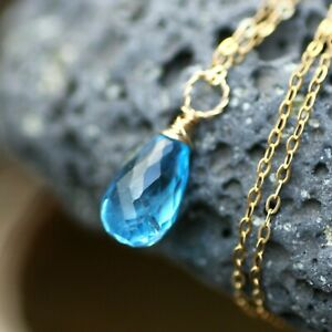 Natural Briolette Swiss Blue Topaz  Pendant Solid 14K Yellow Gold December Birth