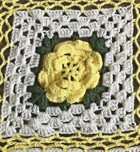 Granny Square Daisy Crochet Afghan 74x62, Green, White, Yellow