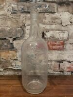 Quaker Whiskey Antique Clear Embossed Glass One Quart Bottle