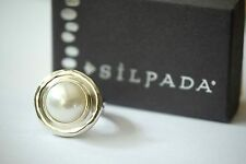 "Silpada NEW ""Pure Romance"" Large Pearl Sterling Silver Size 8 Ring R3366 NEW"