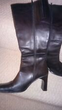 ITALIAN MADE LADIES/WOMENS LONG  BLACK LEATHER BOOTS SIZE 4