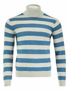 GANT Diamond G Men's Lt Grey Cotton Silk Stripe Turtleneck 89018 Size M $165 NWT