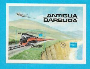 1986 MNH ANTIGUA BARBUDA $5 TRAIN SOUVENIR SHEET SCOTT #938 - C3e