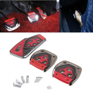 Red Metal Speed Sporty Non-Slip Manual MT Gas Brake Foot Pedal Pad Cover Car