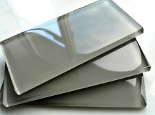 Cool Gray 3x6 Shiny Subway Glass Tile Backsplash SPA Kitchen Bath (SAMPLE PIECE)