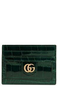 GUCCI Genuine Crocodile Card Case Double G Hardware Logo VERDE Green $3400