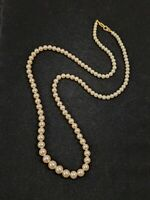 Vintage Gold Tone Cream Faux Glass Pearl Graduated Necklace 14505
