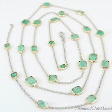 Estate 27.50ct Emerald Bezel Setting long necklace 14kt Gold 13.8 Grams