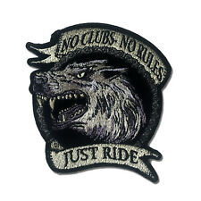 No Clubs No Rules Just Ride Wolf Chain Sew or Iron on Patch Biker Patch