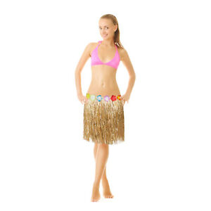 Hawaii Rock Blüten Grasrock Hularock Bastrock Grass Skirt Kostümrock Strandparty