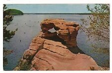 The DEMONS ANVIL Rock Formation UPPER DELLS Wisconsin River  Postcard WI