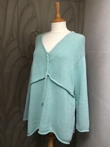 BARBARA SPEER ONE SIZE JUMPER, LONG SLEEVES, LIME COLOUR, ROLLED HEM AND CUFFS