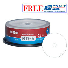 25 Pack Imation Blu-ray BD-R DL Dual Layer 6X 50GB White Inkjet Printable Disc