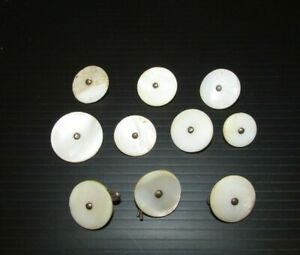 Antique Studded Mother of Pearl Buttons 10pc Collection 7/8in & 5/8in