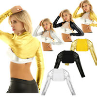 Shiny Metallic Wet Look Crop Top Women Open Front Shrug Bolero Cardigan Clubwear