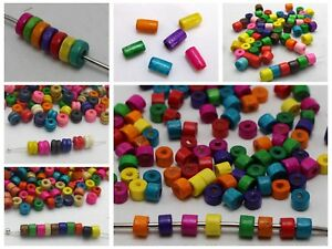 Craft DIY Mixed Color Wood Column Heishi Tube Beads Wooden Spacer Various Size