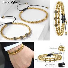 2Pcs Fashion Men Gold Stainless Steel Bead Bracelet Adjustable Wristband Jewelry