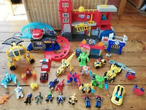 Transformers Rescue Bots Flip Racers Track Station Playsets Figures Vehicles Lot