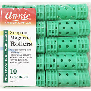 """ANNIE SNAP ON MAGNETIC ROLLERS #1222, 10 COUNT GREEN LARGE 7/8"""""""