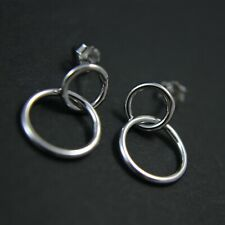 GENUINE 925 Sterling Silver Interlocking Double Circle Earring UK New