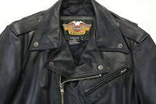 vintage usa mens harley davidson leather jacket L tall long black shovel v-twin