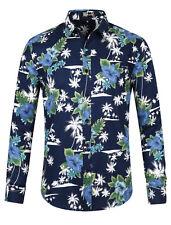 3fe816f46f4d8 Men Floral Button Down Long Sleeve Aloha Hawaiian Palm Printed Shirt Navy  Blue M