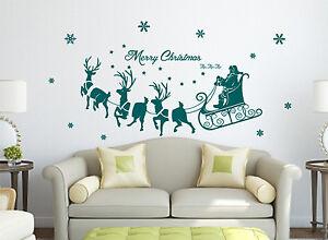 Xmas Special- Santa on Sleigh Art Vinyl Wall Sticker, Transfer Decal- REMOVABLE