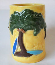 Coffee Mug Hawaii Maui Nalu Surf Board Palm Trees Honu Turtle Tiki God Signed