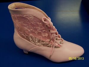 DAME Boots Lace Ankle Victorian Shoes Halloween Adult Costume Accessory 2 COLORS