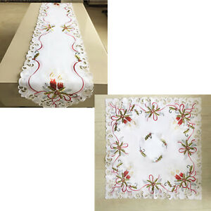 Christmas Tablecloth White Vintage Embroidered Lace Tablecloth Runner Home Decor