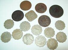 Lot of 17 British India Coins 1835 1/2 Anna 1880 1/4 Anna 11 1 Anna 1920's-50's