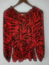 New MICHAEL KORS long sleeve pullover blouse-sz 2-red black-Elastic Waist-$120