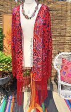 Divine NEUF ROUGE RUBIS Bohême Fringed Kimono Hippie Gypsy Boho Taille 8 10 12 14