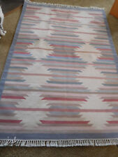 "Large 75"" x 50"" Handwoven Wool Rug Southwest Design Santa Fe Style Wall Hanging"