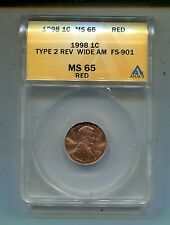 1998P Lincoln Cent-Type 2 Rev. Wide AM-FS-901-MS65 Red ANACS Lot#3