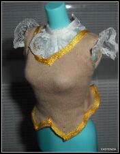 Top Barbie Doll Mattel Dotw Scotland Tan Vest Lace Sleeve Shirt Blouse Accessory
