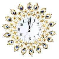 3D Luxury Diamond Large Wall Clocks Metal Living Room Sticker Home Office Decor