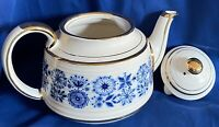 Vintage Sadler Gold Trim Cylindrical Shaped Teapot Blue Floral Made In England