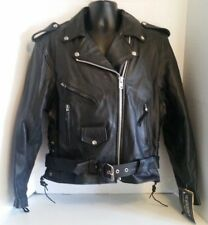 UNIK Black Leather Motorcycle Jacket Removable Liner Womens Size 14 New w/Tags