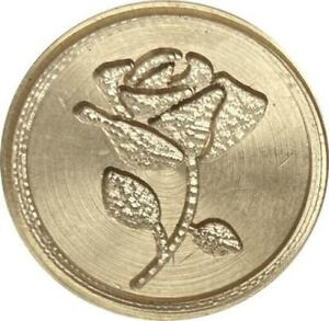"""Open Rose Wax Seal Stamp, 1"""" diameter seal with wood handle"""