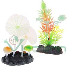 2x Pianta fluorescente artificiale decorazione acquario pesci piante piantine