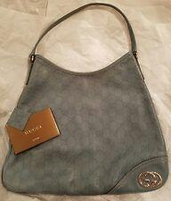 "GUCCI Guccissima Light Blue ""New Britt"" Leather Hobo Bag GUC GG Logo"