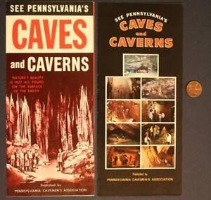 1950-60s Era Caves & Caverns of Pennsylvania TWO brochure set- Caveman's Assoc.!