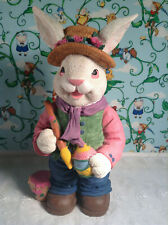 Vintage Late 1990's Hollow Resin Painting Eggs Easter Spring Girl Bunny *Euc*