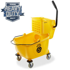 26 Quart Commercial Mop Bucket With Side Press Wringer Yellow